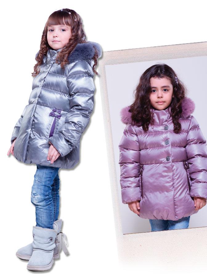 30/сер.мет/сир.  Куртка для девочки б/подстежки (пух, опушка-песец) ЗИМА.