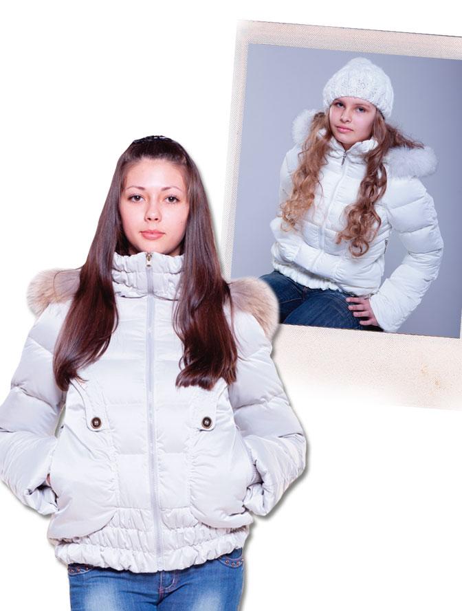 Куртка для девочки б/подстежки (пух, опушка-песец) ЗИМА.  40/гр.розовый.